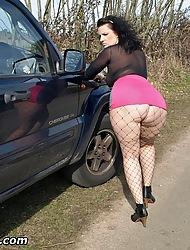 Chunky butt Mr Big Daniella dressed display a slut by the roadside