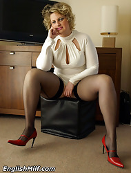 Curvy English milf to chap-fallen oyster-white apparel plus seamed stockings